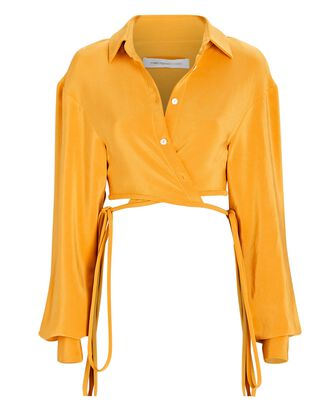 Cropped Silk Wrap Top, ORANGE, hi-res
