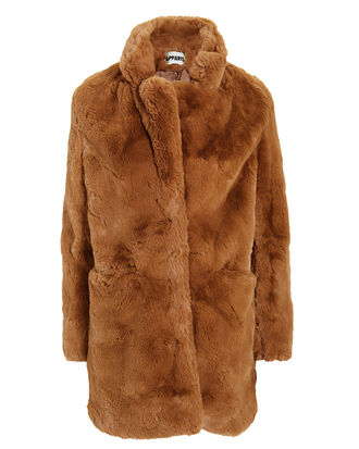 Sophie Faux Fur Coat, BROWN, hi-res