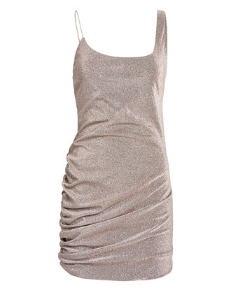 Emmons Metallic Ruched Mini Dress, BLUSH, hi-res