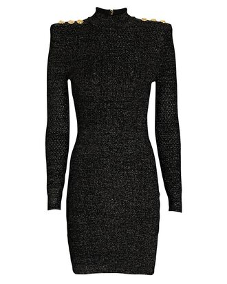 Knit Lurex Turtleneck Mini Dress, BLACK, hi-res