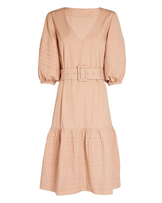 Bonnie Belted Cotton Midi Dress, PEACH, hi-res