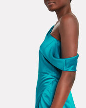 One-Shoulder Draped Silk Dress, LAPIS, hi-res