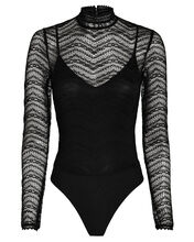 Lace High Neck Bodysuit, BLACK, hi-res