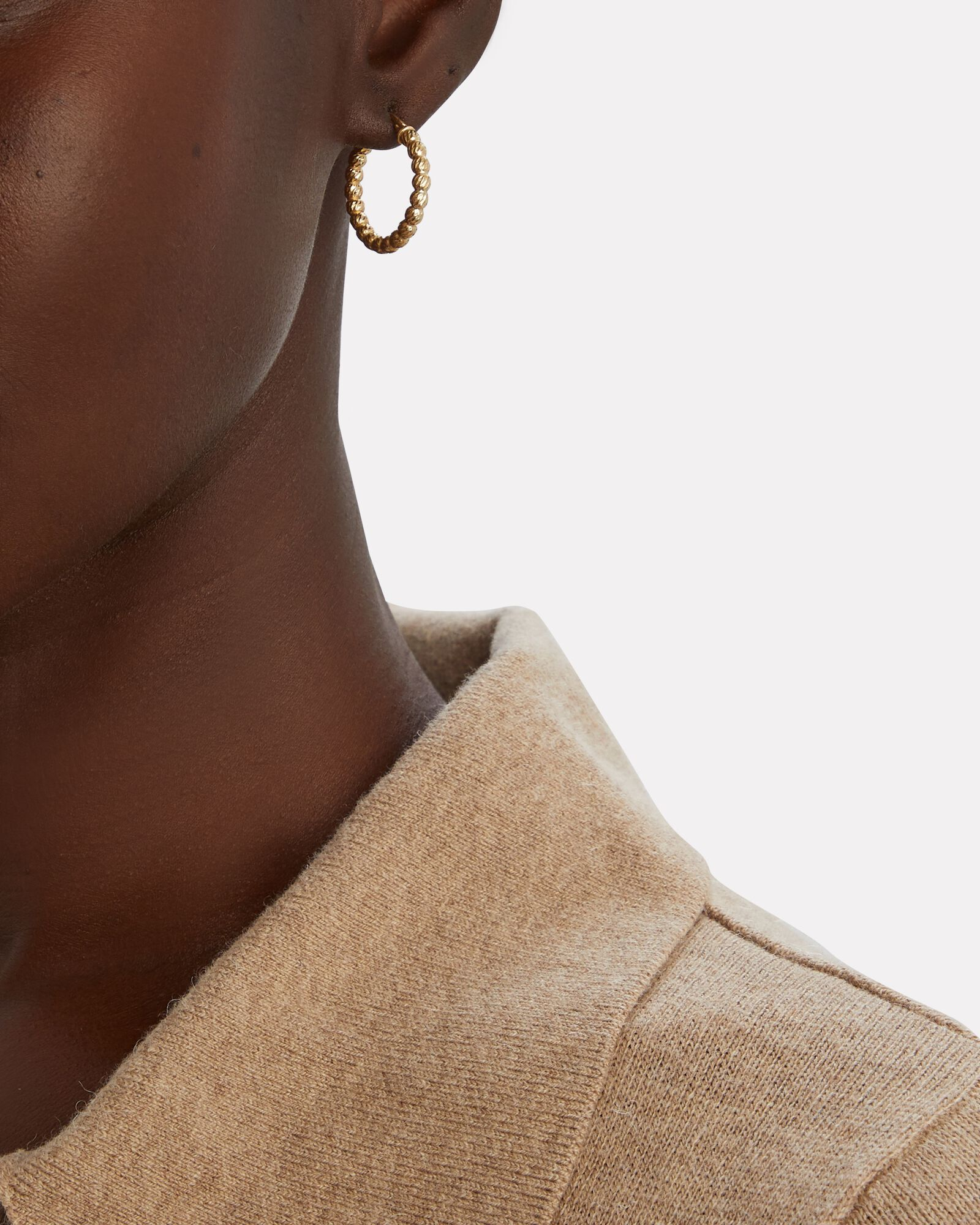 Ball Chain Hoop Earrings, GOLD, hi-res