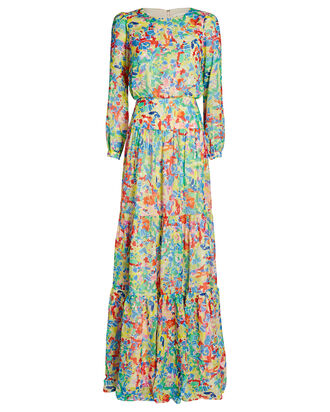 Isabel Silk Printed Maxi Dress, GREEN/PINK, hi-res