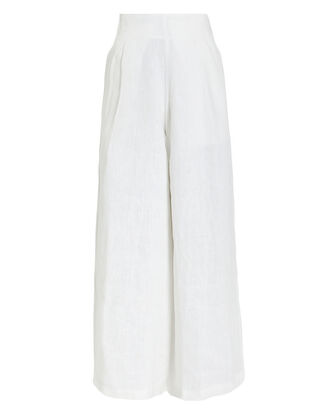 Meridian Linen Wide Leg Trousers, WHITE, hi-res