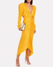 Astrid Ruched Moiré Dress, YELLOW, hi-res
