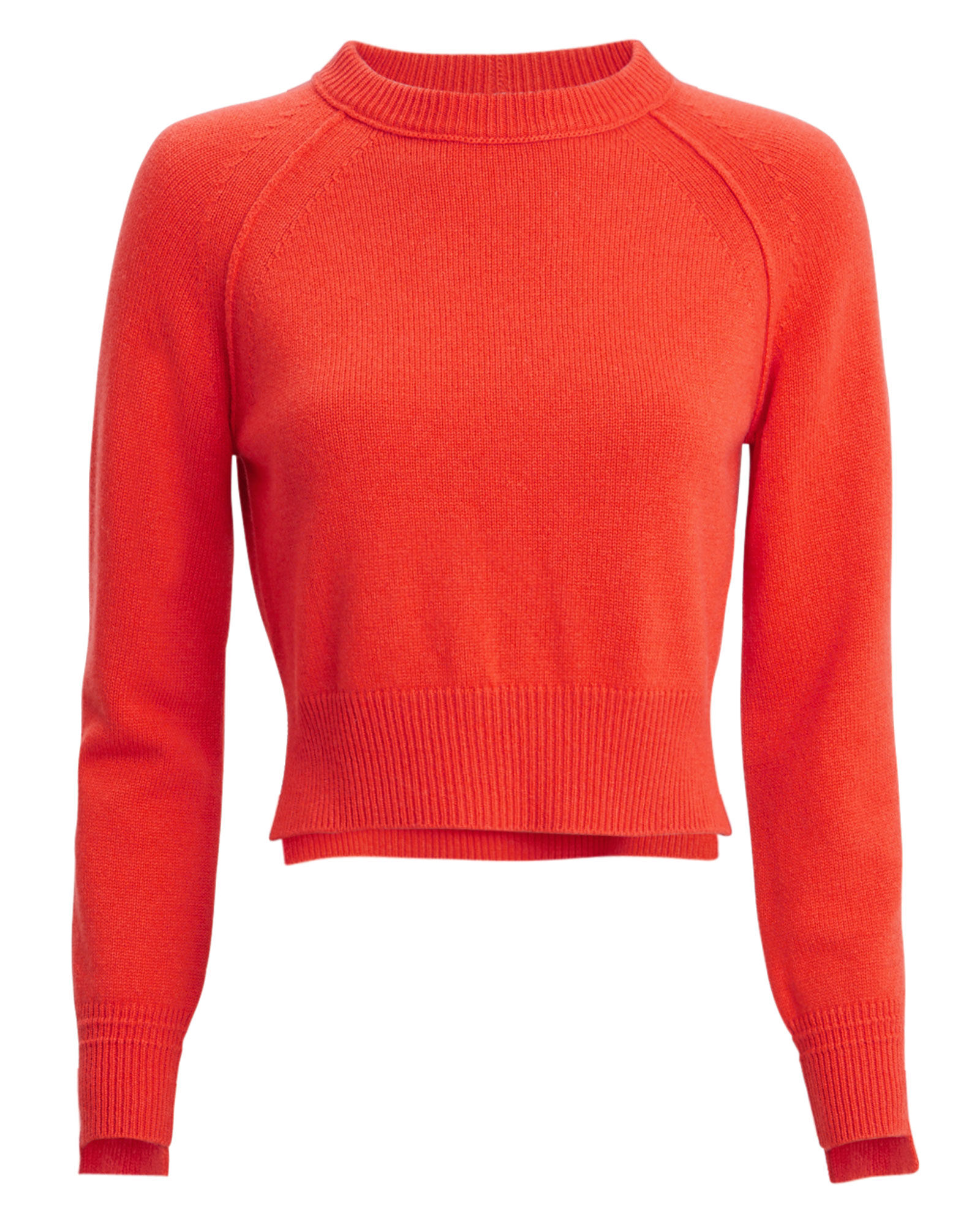 Cropped Cashmere Sweater, RED, hi-res