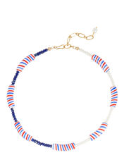 Candy Stripe Beaded Necklace, RED/WHITE/BLUE, hi-res