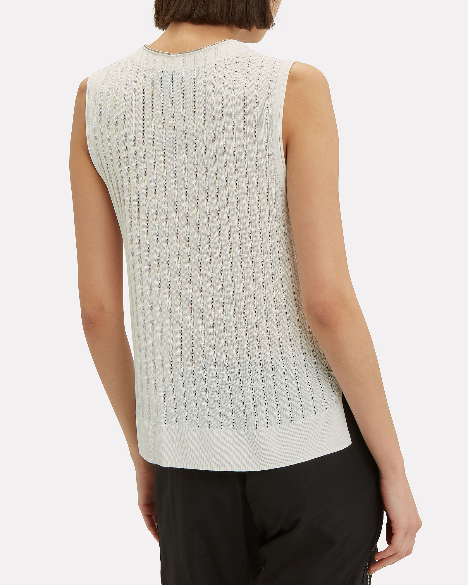 Valarie Zip Front Knit Top, IVORY, hi-res