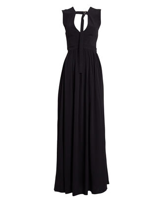 Sleeveless Crepe & Chiffon Gown, BLACK, hi-res