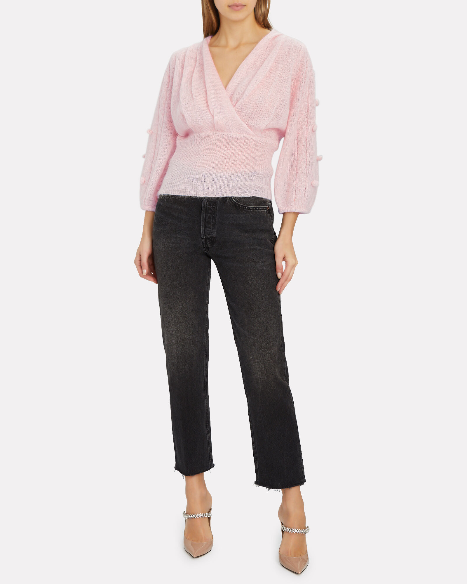 Jayla Mohair Wrap Sweater, PINK, hi-res