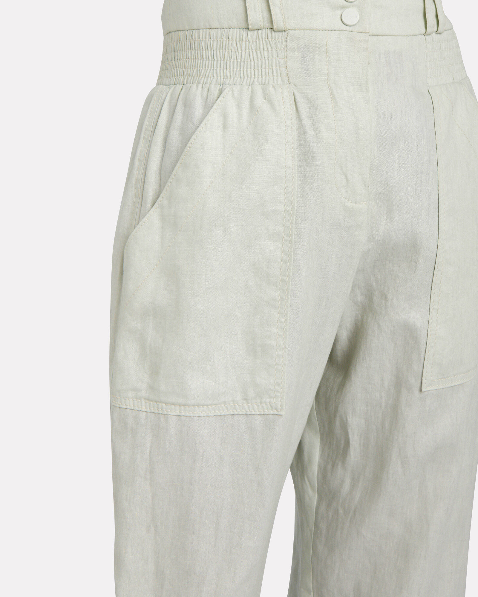 Glassy Slouch Linen Army Pants, GREEN-LT, hi-res