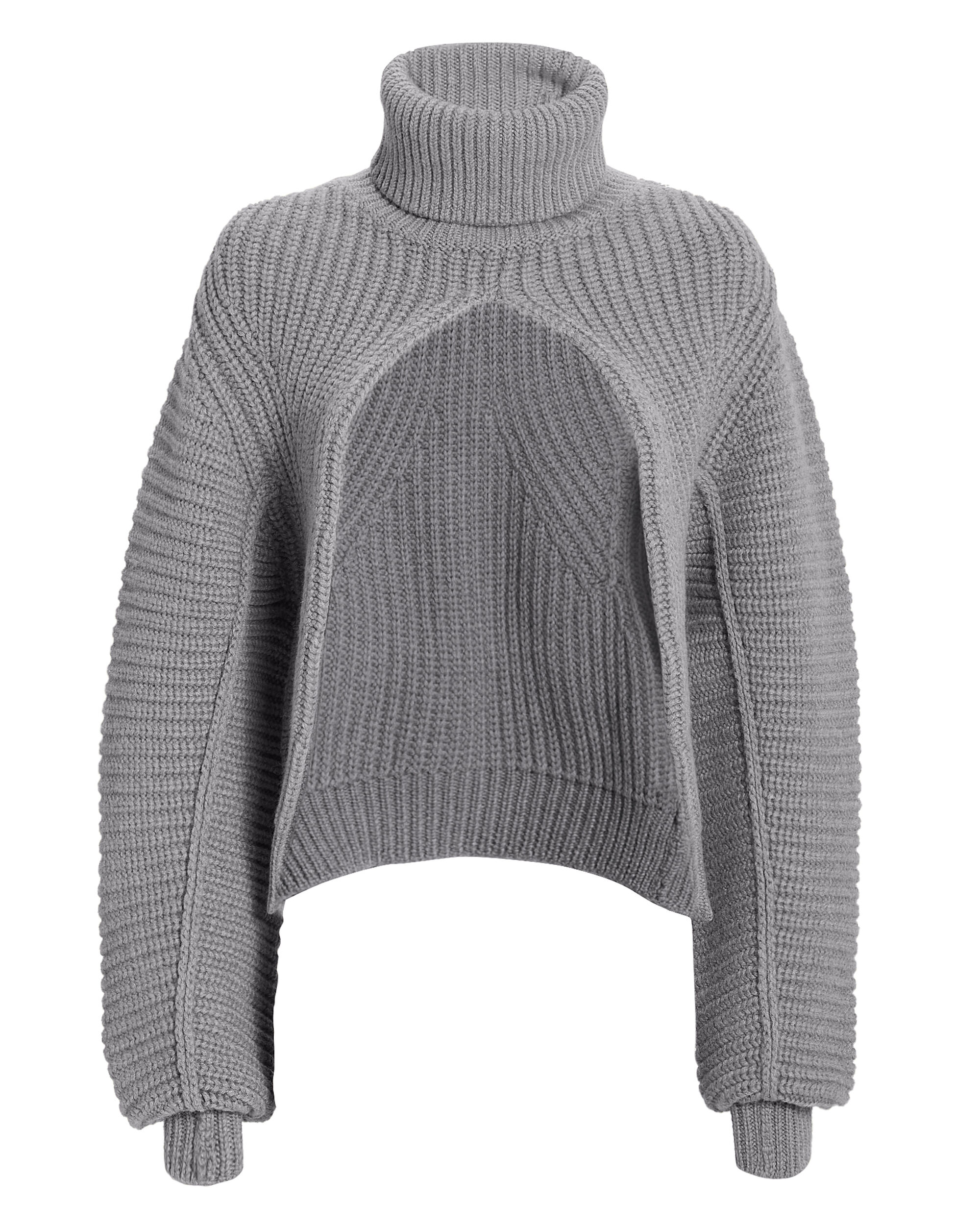 Split Turtleneck Sweater, GREY, hi-res