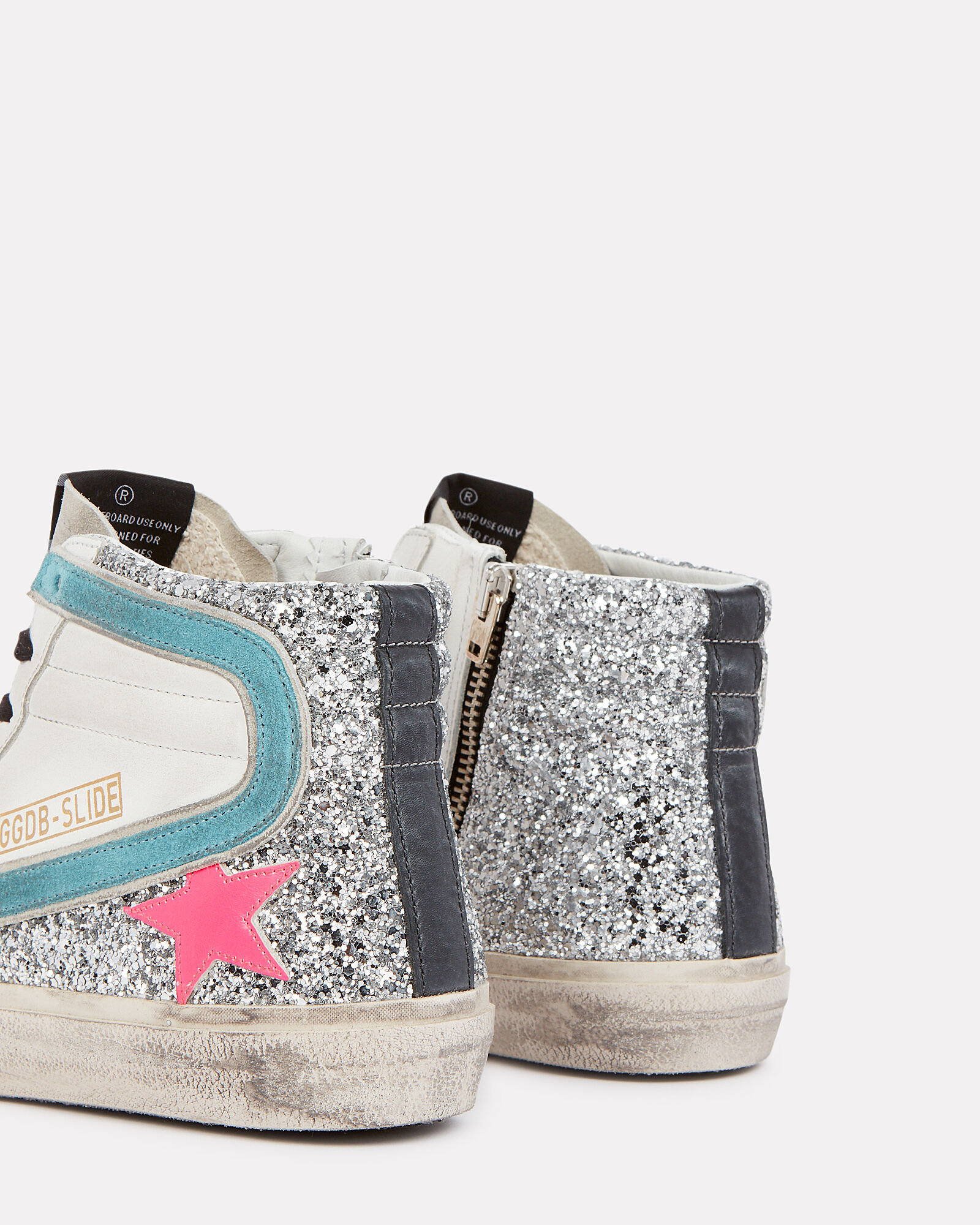 Slide Glitter High-Top Sneakers, SILVER/WHITE, hi-res