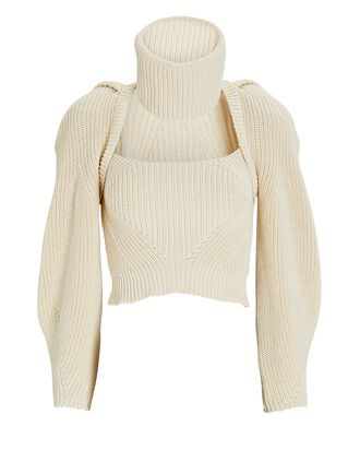 Turtleneck Cut-Out Cotton Sweater, IVORY, hi-res