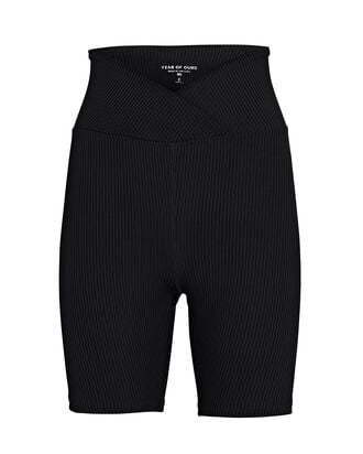 V-Waist Rib Knit Bike Shorts, BLACK, hi-res