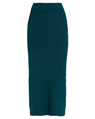 Full Rib Knit Midi Skirt, GREEN, hi-res