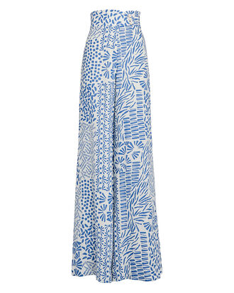 Neassa High-Waist Printed Trousers, WHITE/BLUE, hi-res