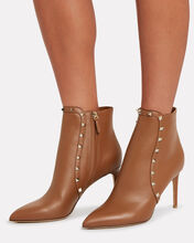 Rockstud Leather Ankle Boots, BROWN, hi-res