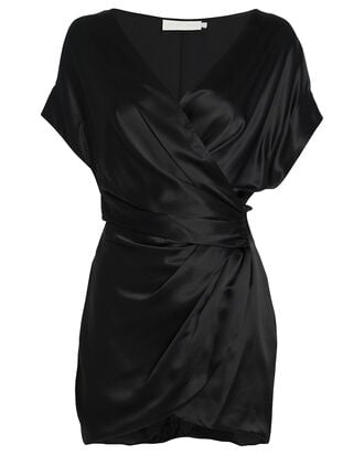 Silk Wrap Mini Dress, BLACK, hi-res