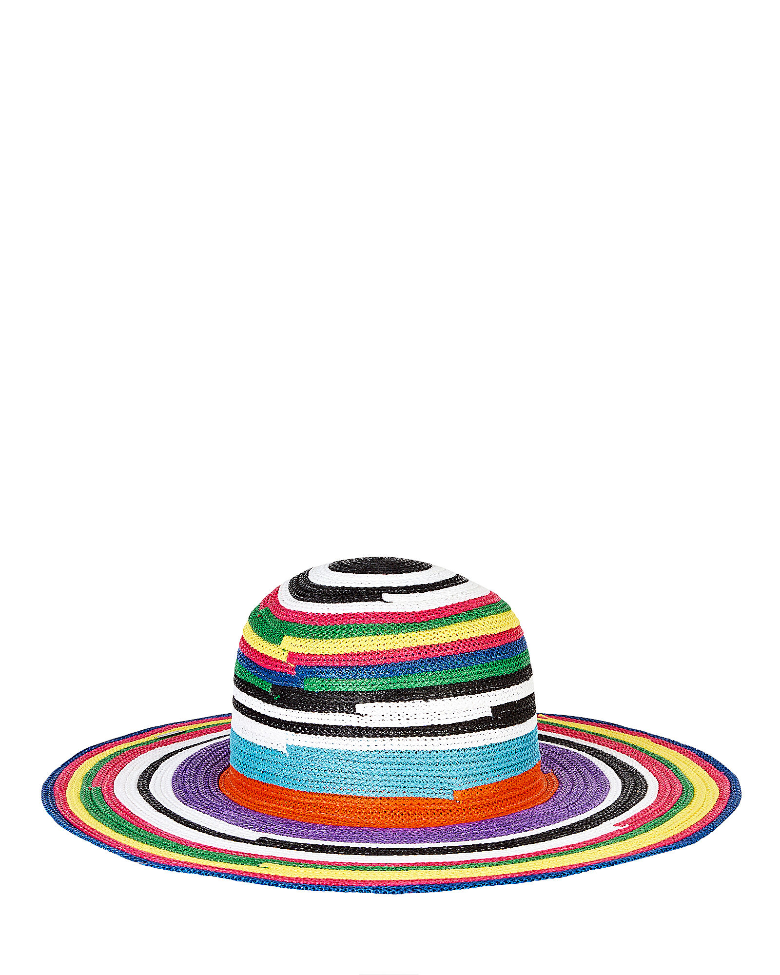 Striped Wide Brim Sun Hat, RAINBOW, hi-res