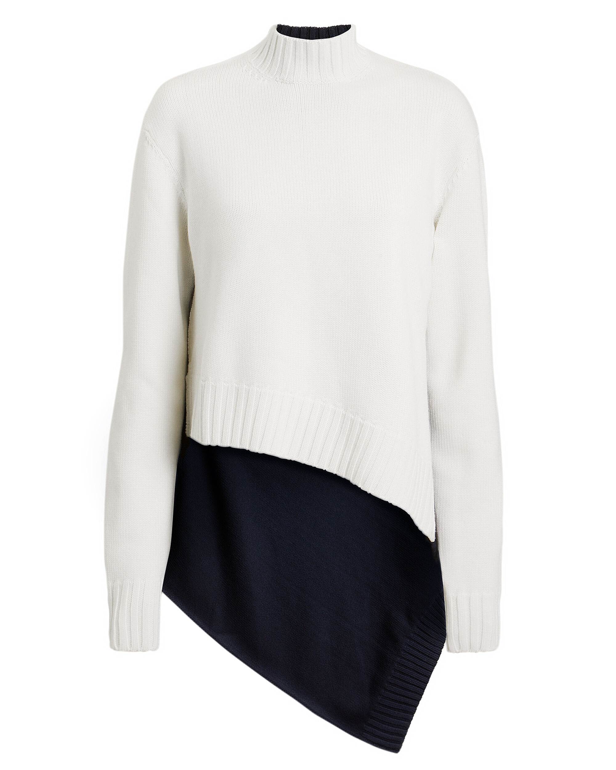 Cape Back Two-Tone Sweater, WHITE/NAVY, hi-res