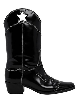 High Texas Star Western Boots, BLACK, hi-res
