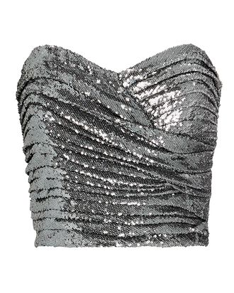 Milan Ruched Sequin Strapless Top, SILVER, hi-res