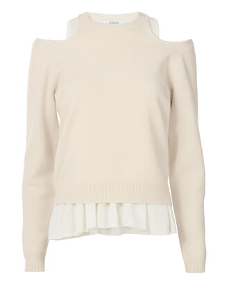 Layered Tank Pleated Sweater, NUDE, hi-res