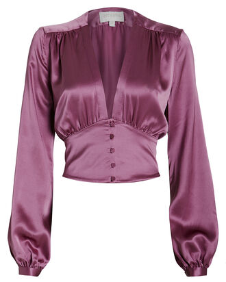 Satin V-Neck Blouse, DUSTY PURPLE, hi-res