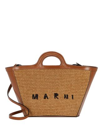 Logo Raffia Tote Bag, BROWN, hi-res