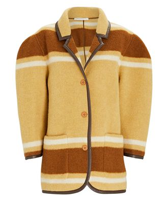 Striped Puff Sleeve Cotton-Wool Coat, YELLOW/BROWN, hi-res