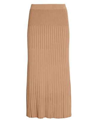 Georgia Pleated Knit Midi Skirt, BROWN, hi-res
