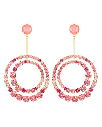 Gia Crystal Circle Drop Earrings, PINK, hi-res
