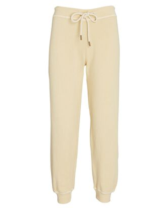 The Cropped Cotton Joggers, PALE YELLOW, hi-res