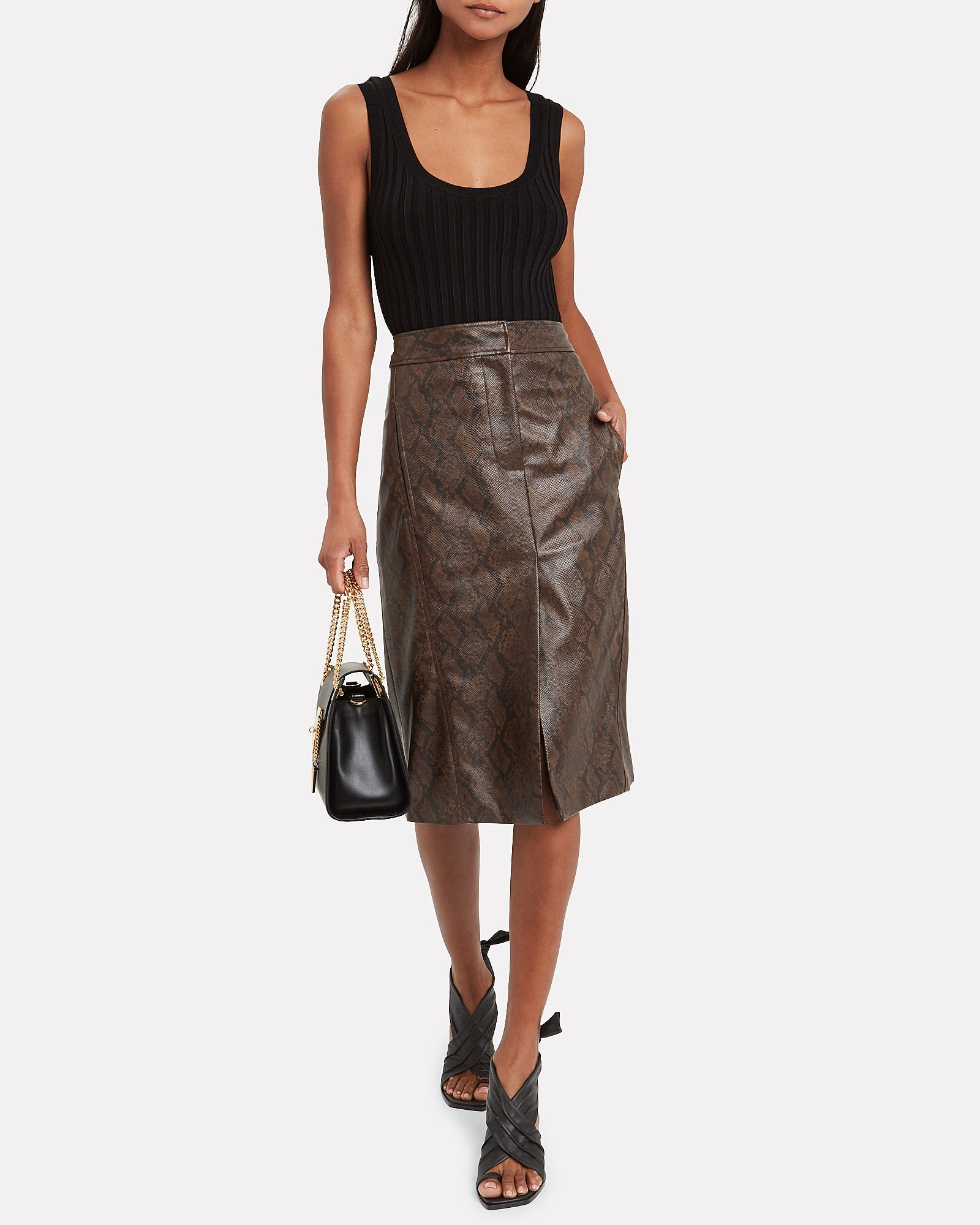 Python Faux Leather Pencil Skirt, MULTI, hi-res