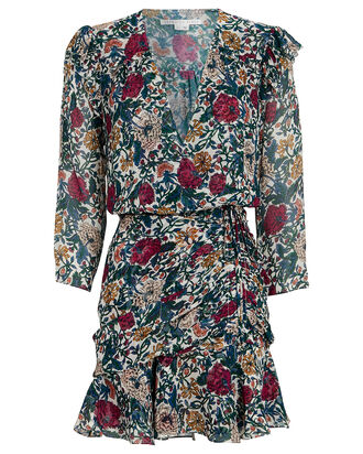 Marilla Floral Mini Dress, GREEN/WHITE/RED, hi-res