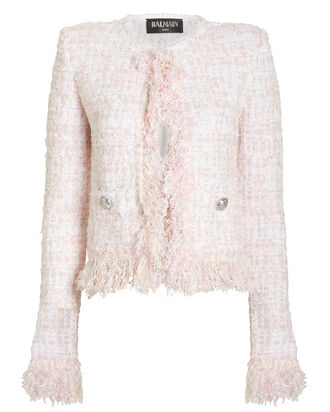 Cropped Tweed Suiting Jacket, PASTEL PINK, hi-res