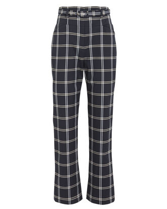 Belted Windowpane Twill Trousers, NAVY/PLAID, hi-res