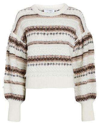 Parker Striped Puff Sleeve Sweater, MULTI, hi-res