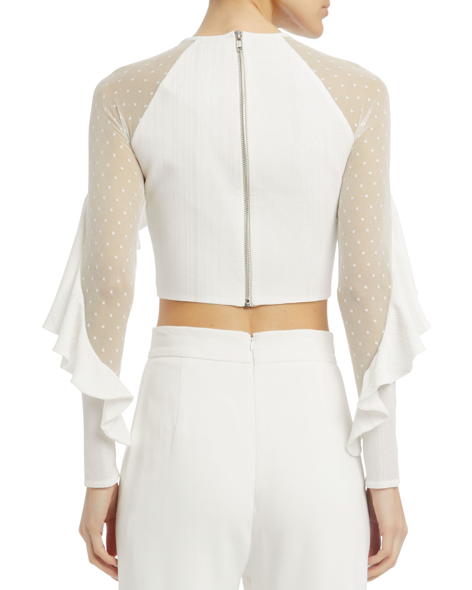 Ruffle Crop Top, WHITE, hi-res