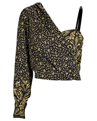 Sarai One-Shoulder Paisley Top, BLACK/YELLOW, hi-res