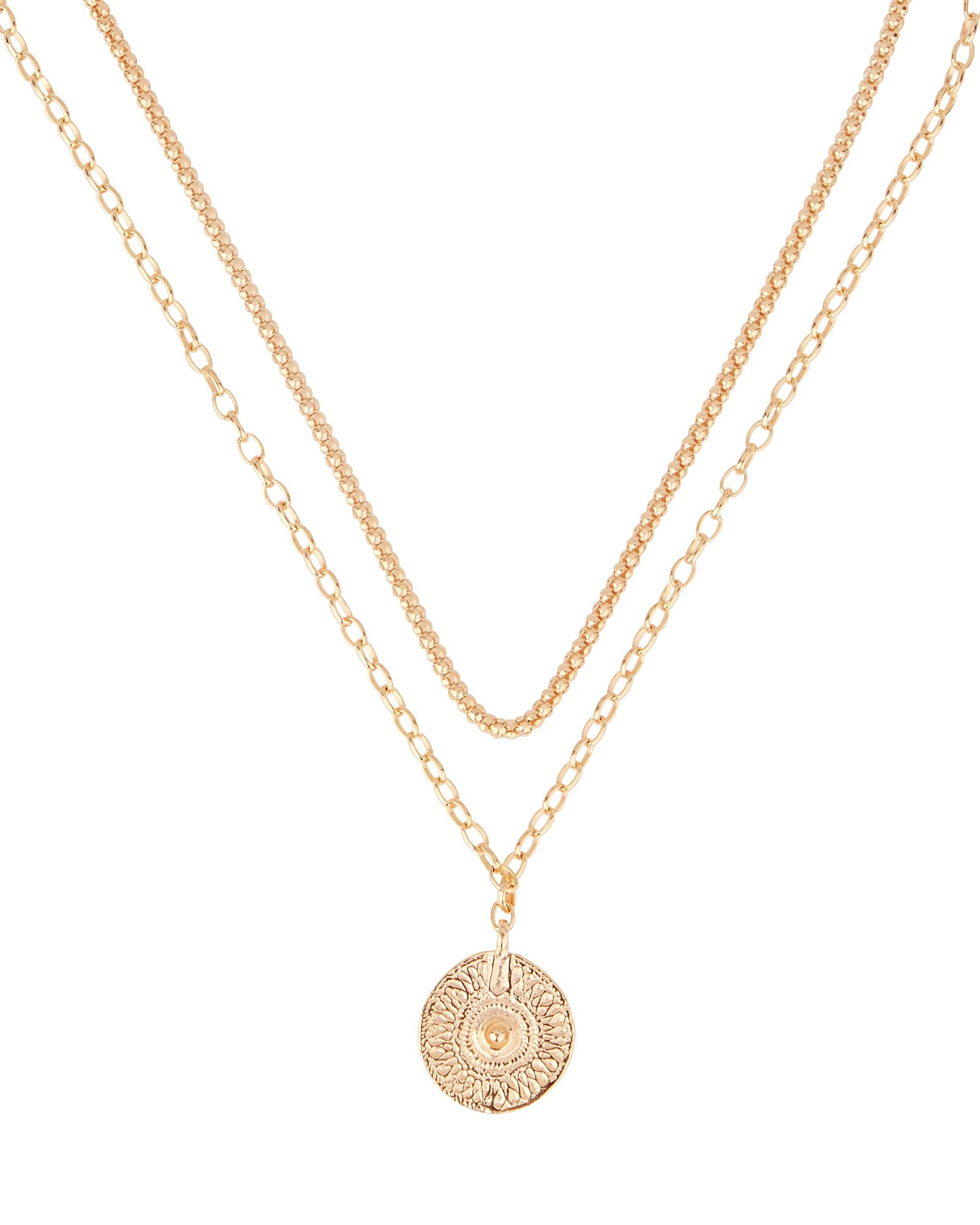 Odin Layered Coin Pendant Necklace, GOLD, hi-res