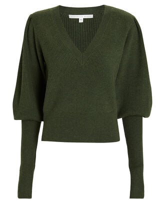 Esme Puffed Sleeve Merino Wool Sweater, LODEN, hi-res