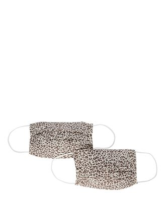 Pleated Cheetah Face Mask 2-Pack, IVORY/BROWN, hi-res