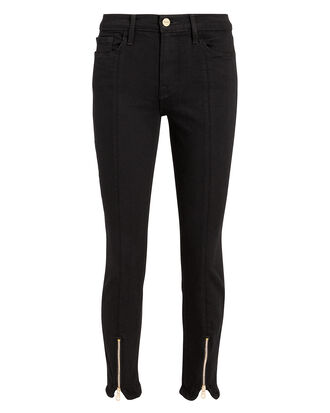 Le High Noir Skinny Zip Jeans, BLACK, hi-res
