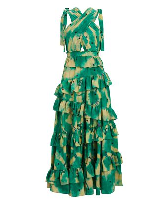 Zahra Tie-Dyed Silk Gown, GREEN, hi-res