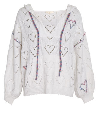 Meara Hooded Heart Sweater, WHITE, hi-res