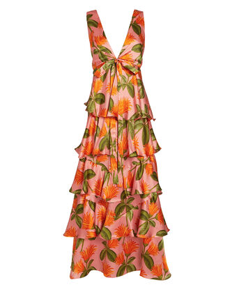Flavia Silk Sleeveless Dress, CORAL/FLORAL, hi-res
